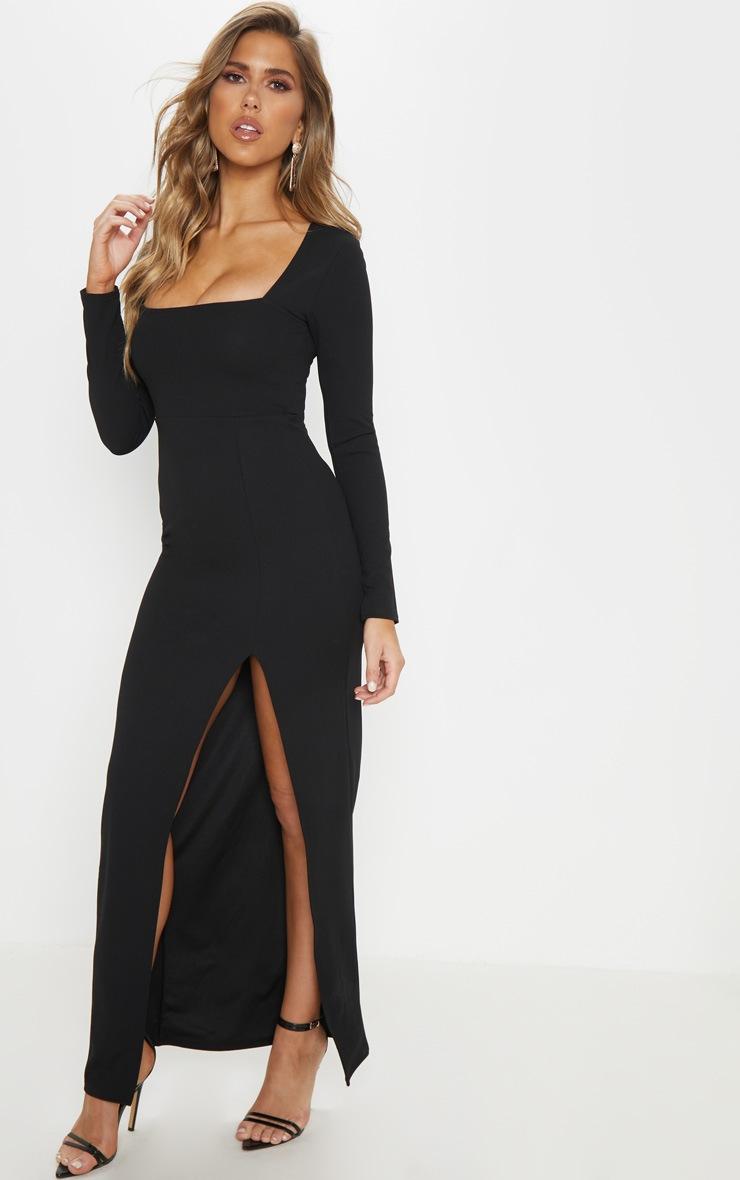 Black Square Neck Split Leg Maxi Dress 4