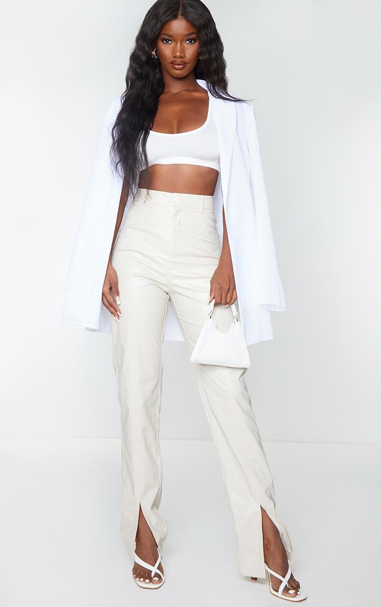 Cream Faux Leather Split Hem Seam Detail Skinny Pants 1