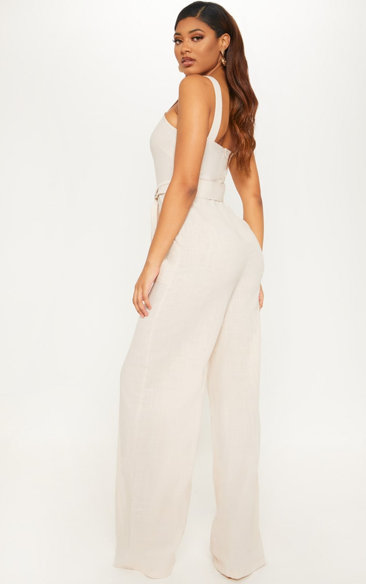 Tall Stone Woven Straight Neck Belted Jumpsuit 2