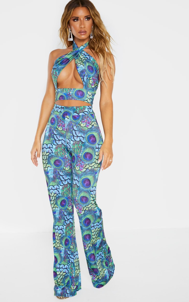 Multi Peacock Print Wide Leg Pants 7