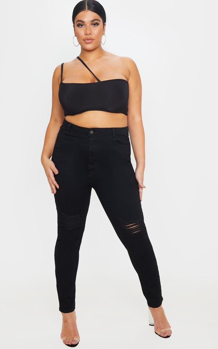 PRETTYLITTLETHING Plus Black 5 Pocket Knee Rip Skinny Jean 1