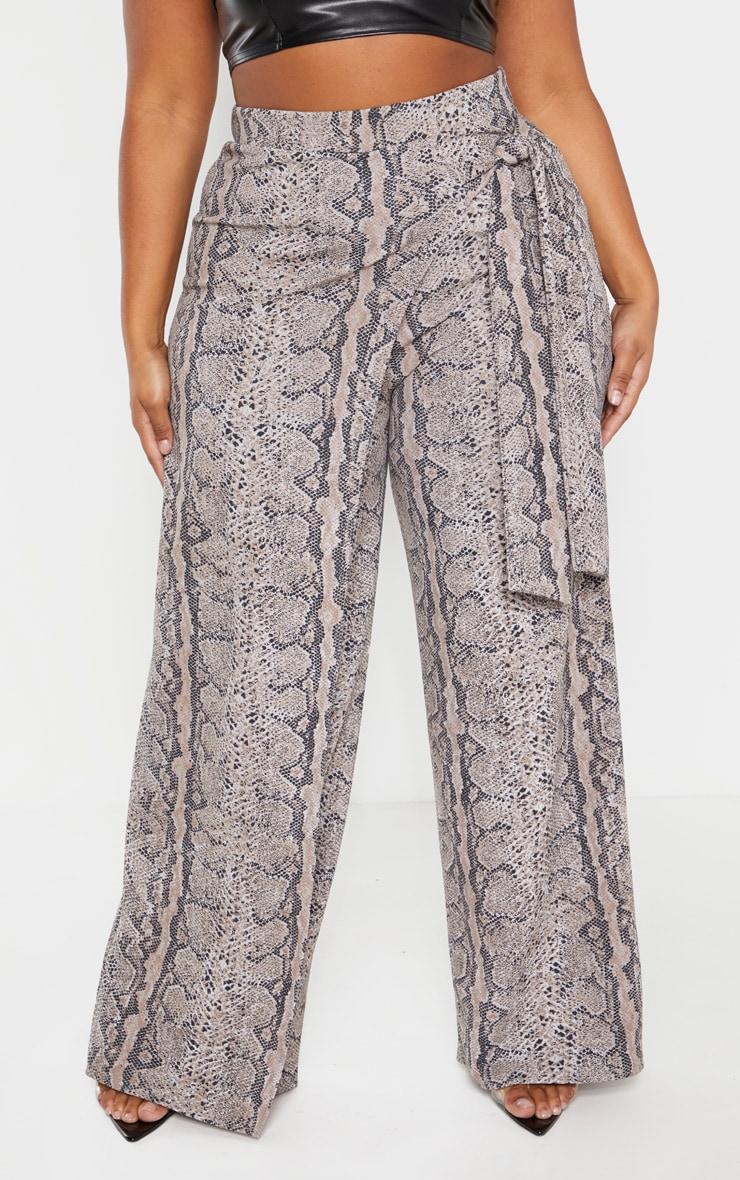 Plus Taupe Snake Print Wrap Detail Wide Leg Pants  2