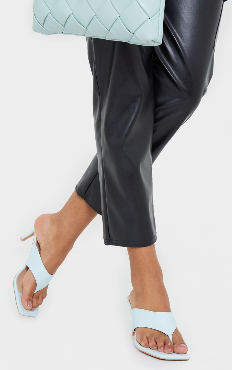 Blue Square Toe Thong Mule Heels 3
