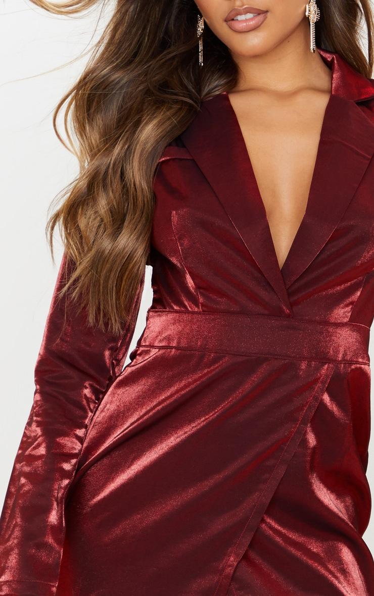 Red Metallic Shimmer Plunge Wrap Detail Blazer Dress  5