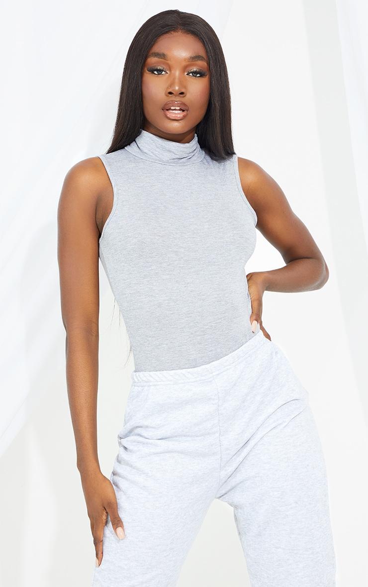 Tall Grey Sleeveless Roll Neck Bodysuit 3