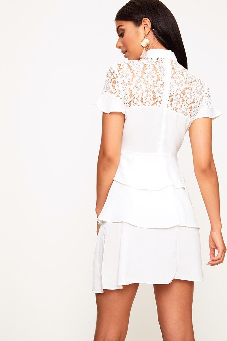 White High Neck Ruffle Detail Bodycon Dress 2