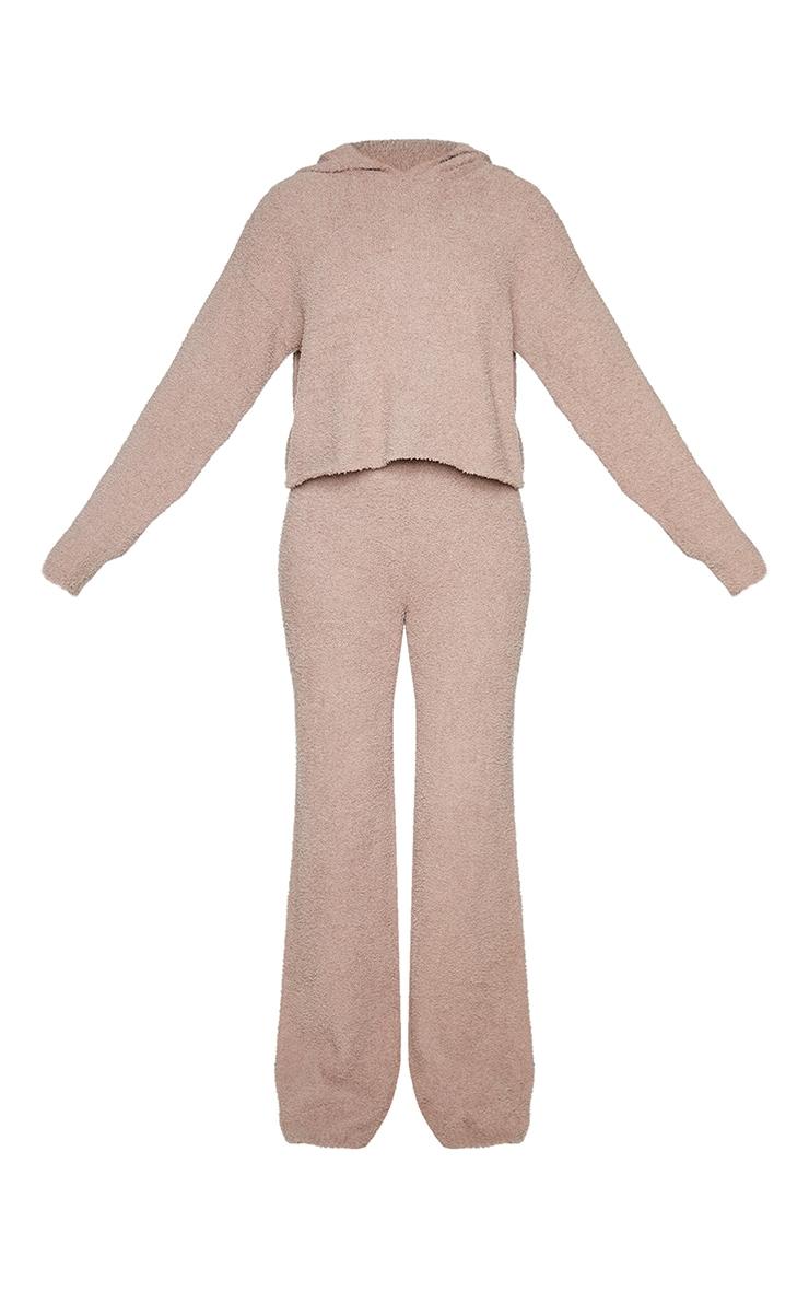 Mocha Premium Fluffy Knitted Hooded Wide Leg Set 5