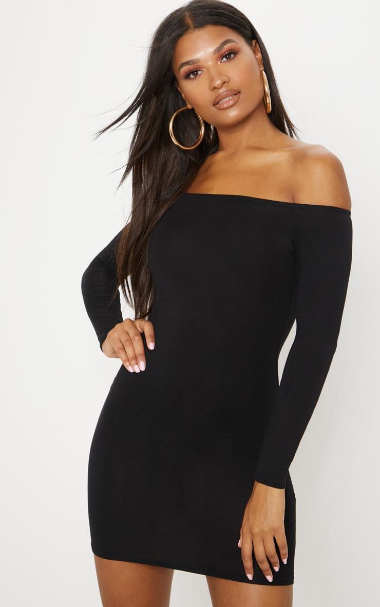 Basic Black Bardot Bodycon Dress 1