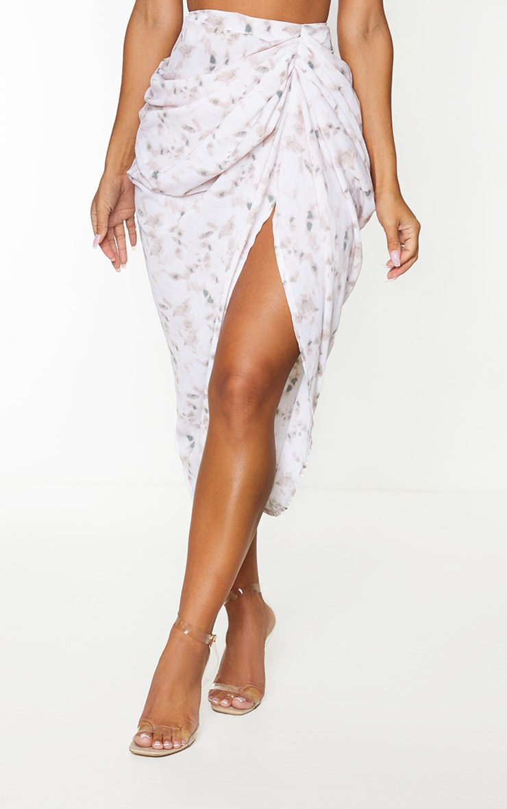 Light Pink Tie Dye Ruched Side Midi Skirt 2