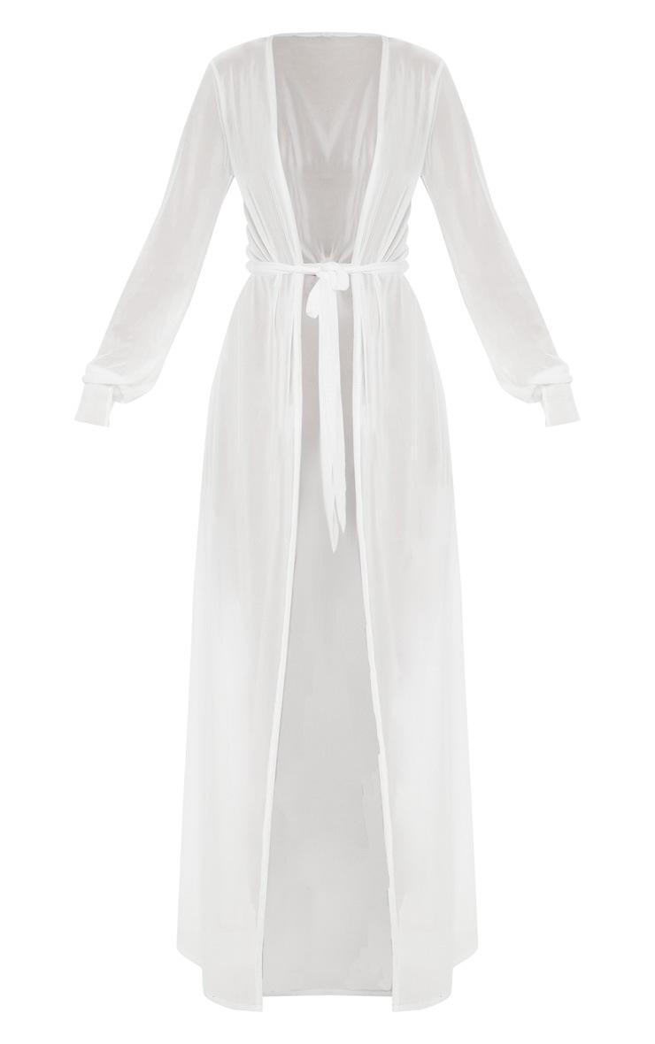 White Thigh Split Maxi Kimono 3