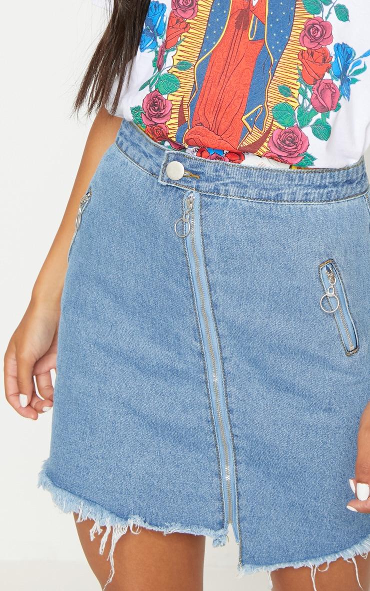 Mid Wash Zip Detail Mini Skirt 6