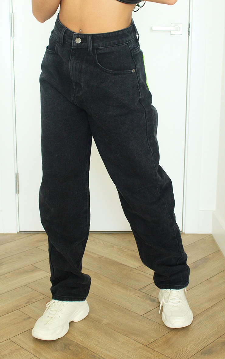Washed Black With Neon Green Perspex Pocket Mom Jeans 2