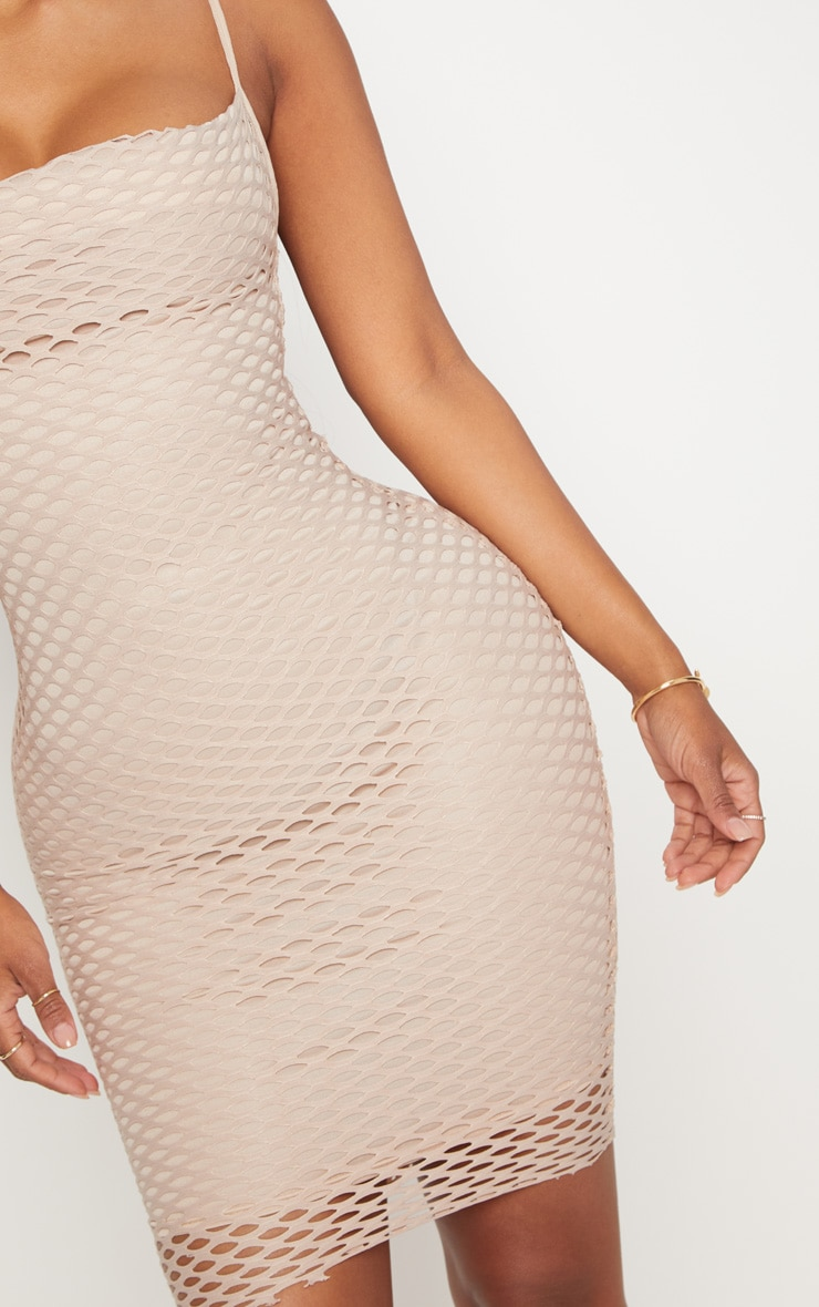 Shape Nude Fishnet Cowl Bodycon Dress 5