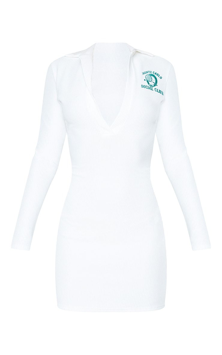 White Rib Tennis Print Long Sleeve Polo Bodycon Dress 5