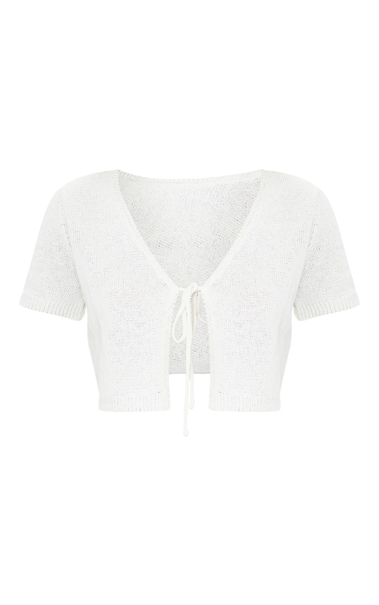 Cream Tie Front Knitted Short Sleeve Cropped Cardigan 5