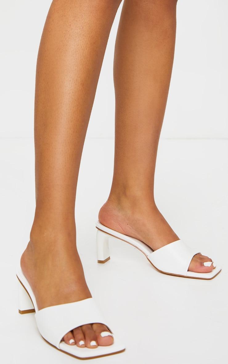 White Curved Mini Heel Square Toe Mules 2