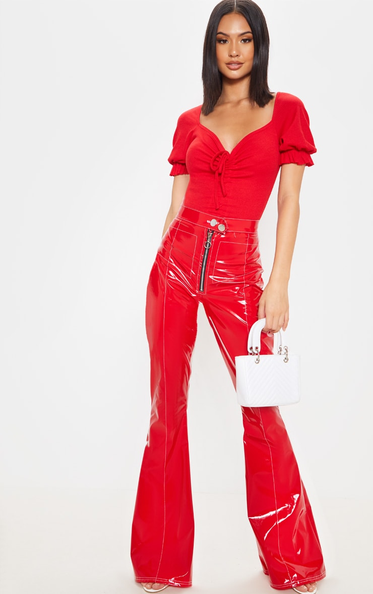 Red Rib Ruched Front Short Sleeve Bodysuit 5