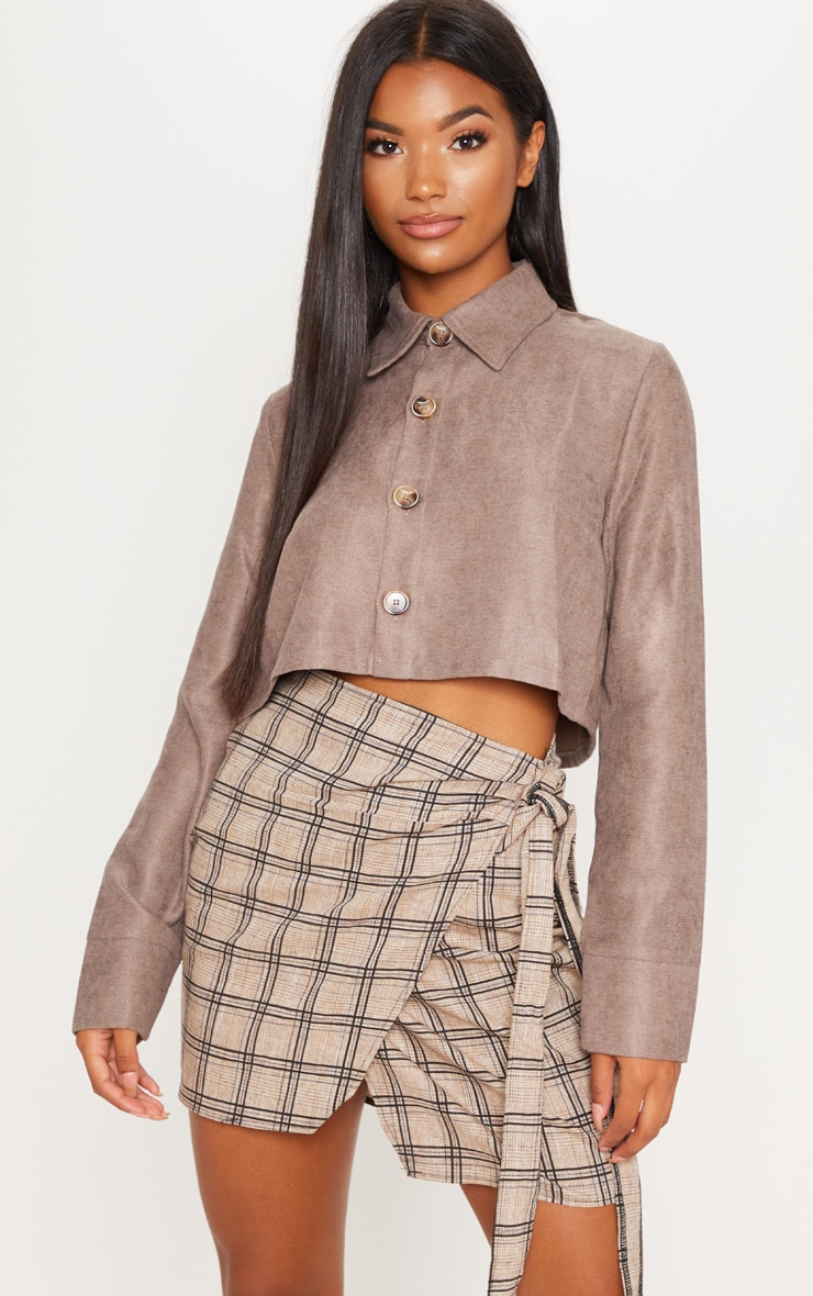 Mocha Long Sleeve Faux Suede Crop Button Top