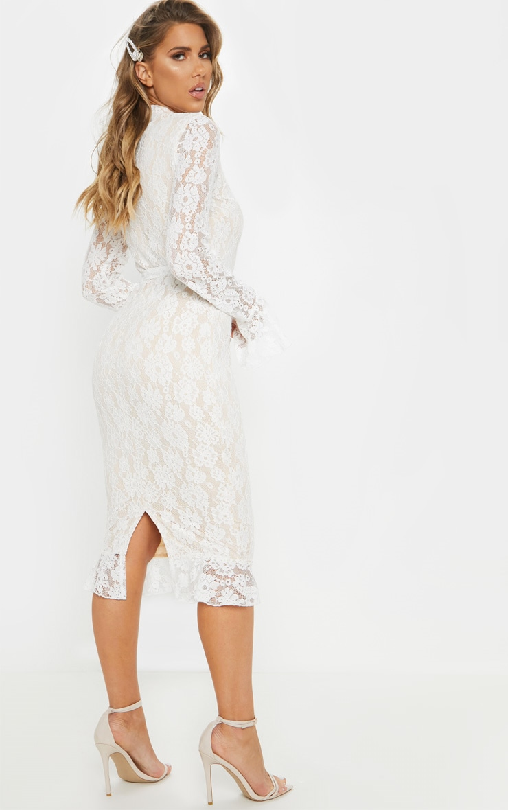 White Lace Button Detail Frill Hem Midi Dress 2