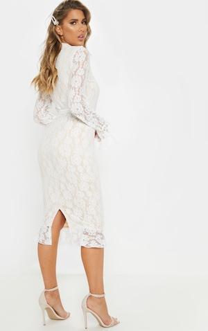 dcd718616 ... White Lace Button Detail Frill Hem Midi Dress image 2 ...