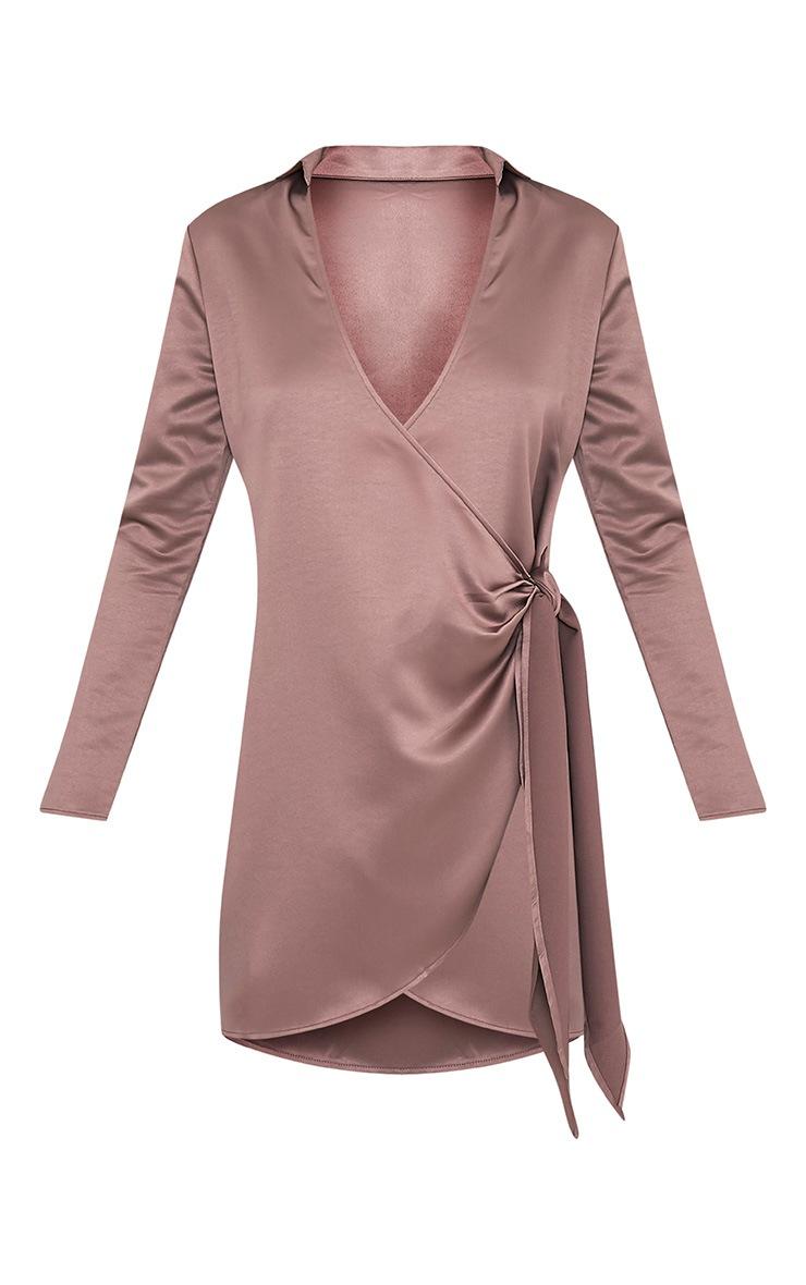 Shaylene Mocha Tie Side Satin Shirt Dress 3