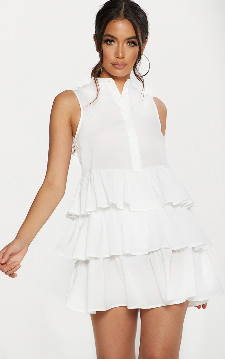 White Frill Hem Shift Dress