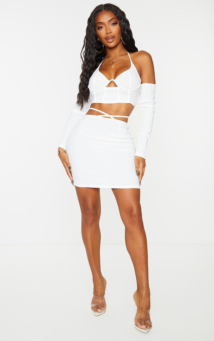 Shape White Textured Woven Tie Waist Bodycon Skirt