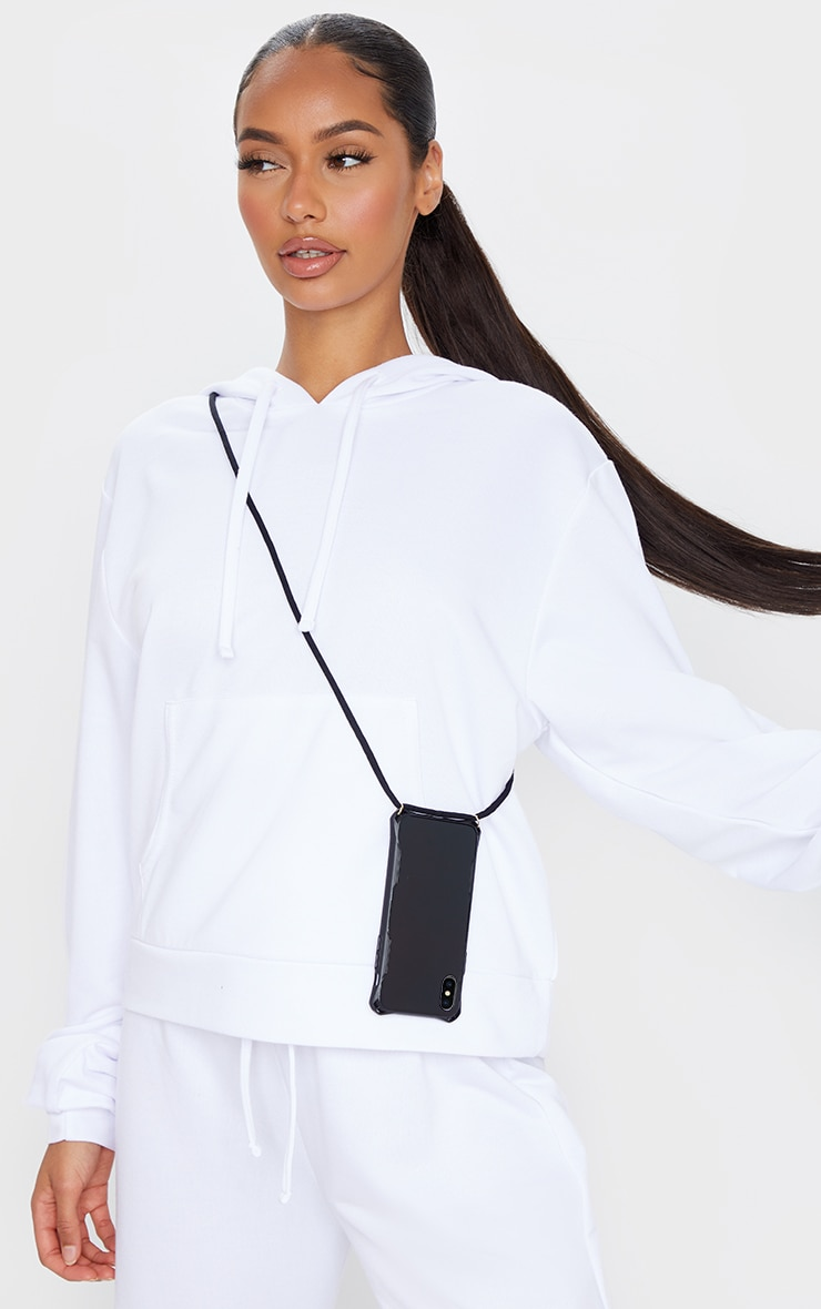 Black Iphone 10/X/XS/ Phone Case With Cross Body Strap 1