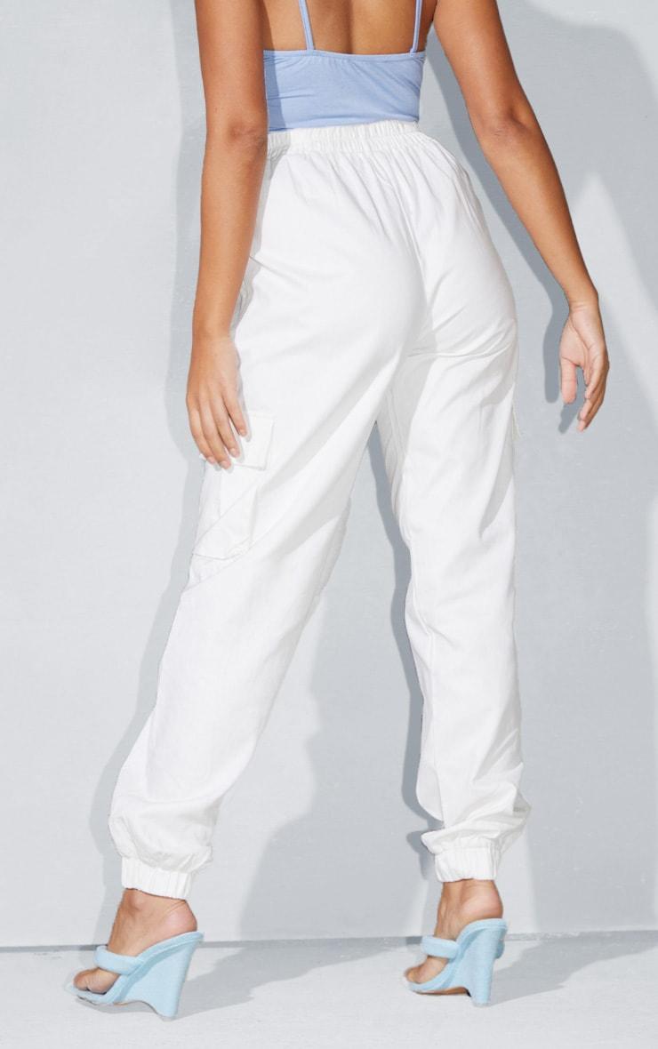 Petite White Cargo Detail Pants 3