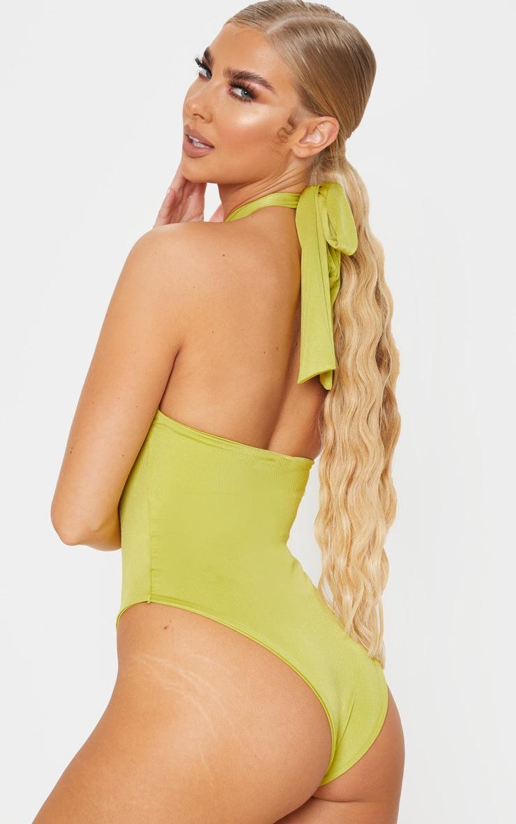 Olive Knot Halterneck Swimsuit 2