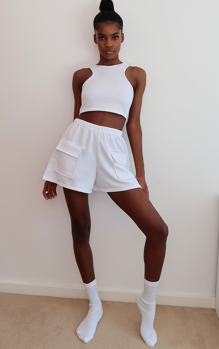 White Lightweight Zip Back Racer Crop Top 3