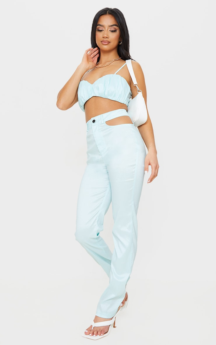 Petite Green Cut Out Detail Trousers 1