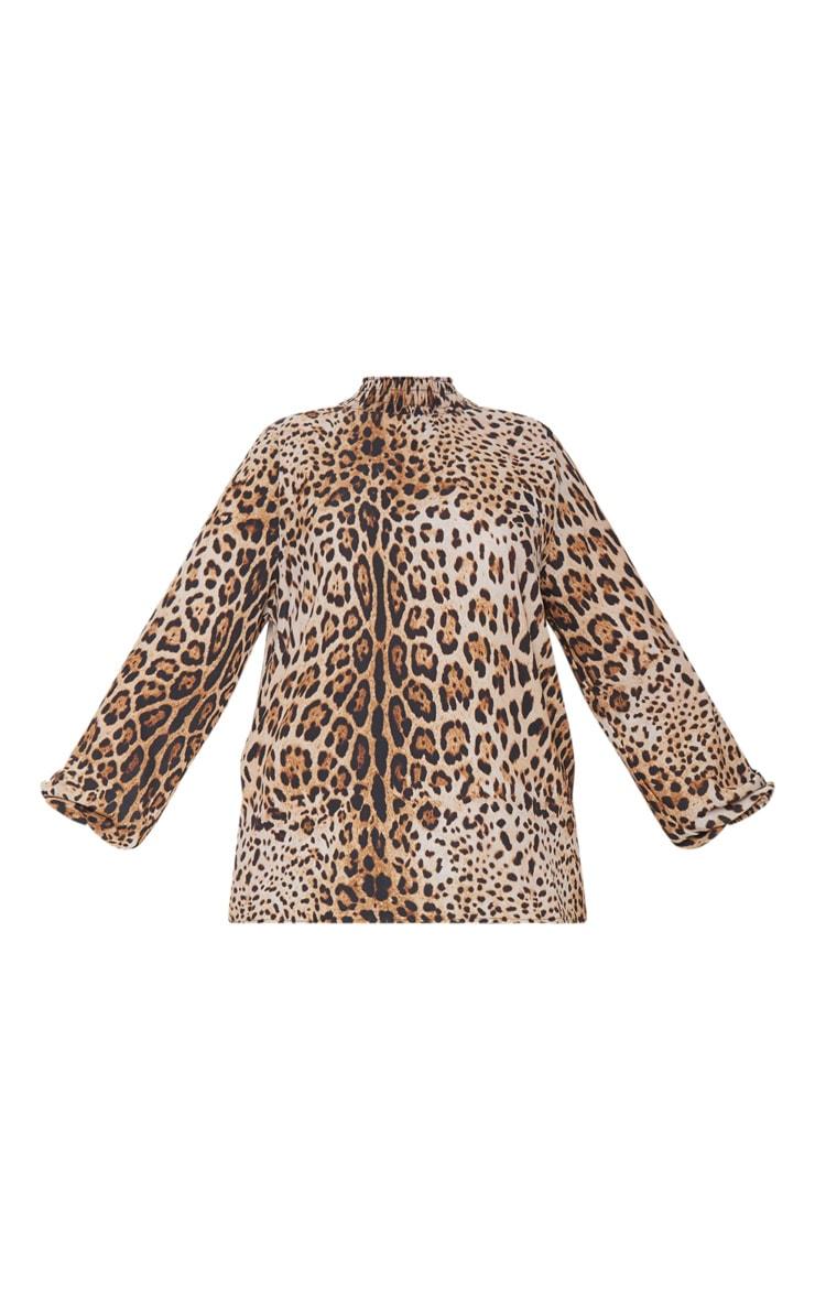 Plus Tan Shirred Neck Leopard Print Blouse 3