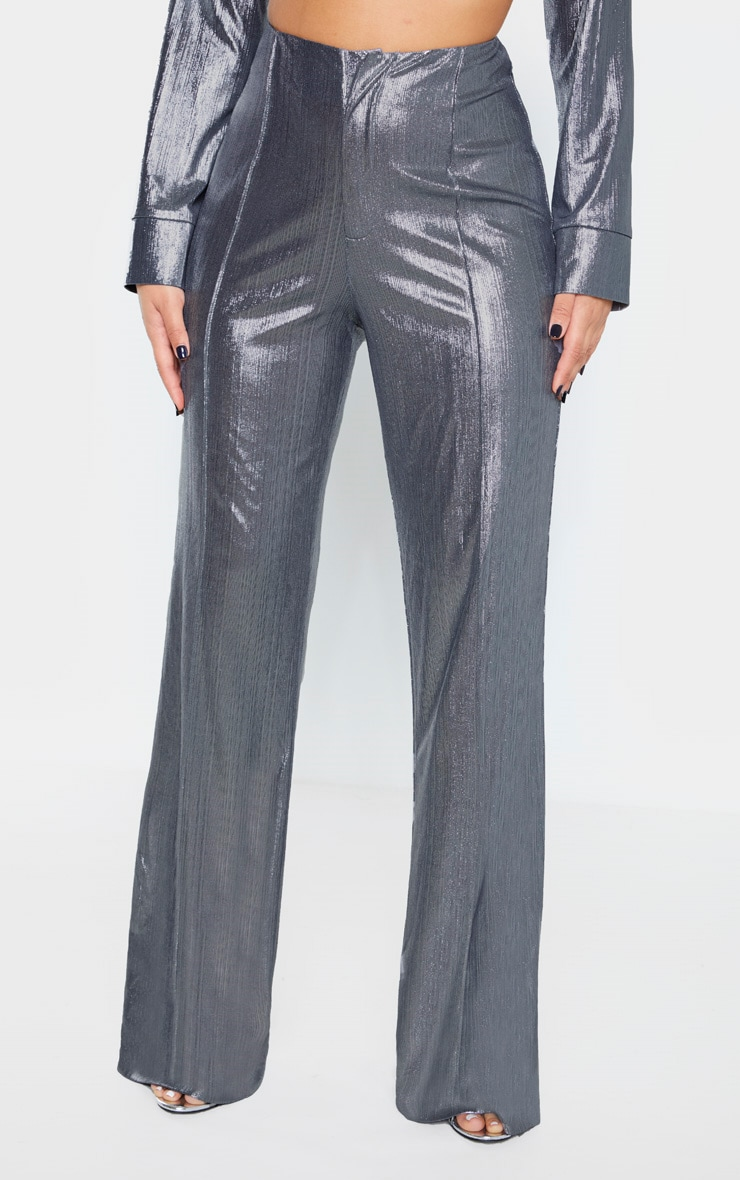 Metallic Silver Woven Seam Detail Straight Leg Pants 2