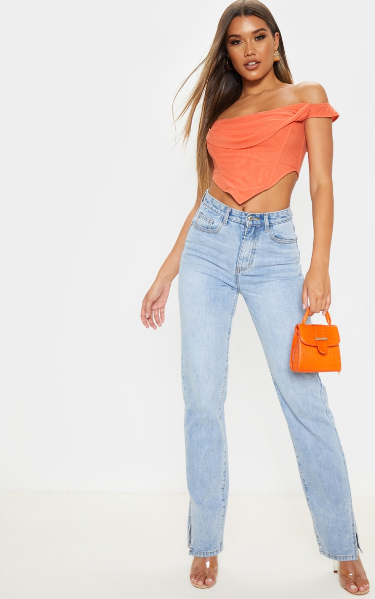 Orange Corset Mesh Bardot Top 4