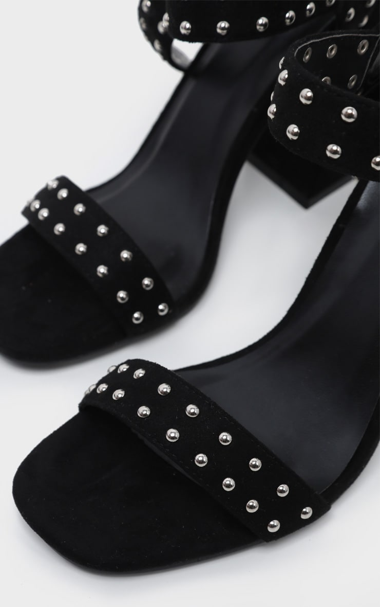 Black Buckle Detail Studded Block Heel Sandal 3