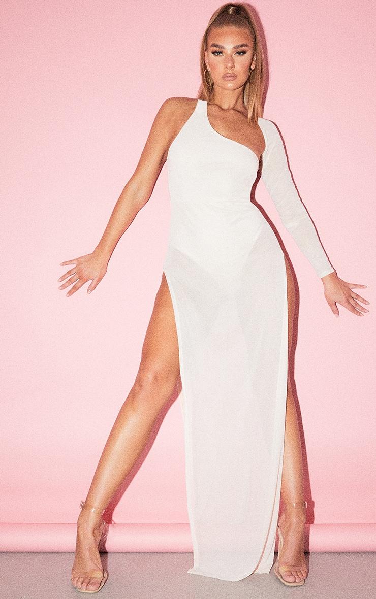 Nude One Shoulder Sheer Mesh Skirt Maxi Dress 1