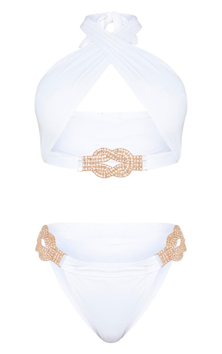 White Halterneck Diamante Jewel Bikini Top 6