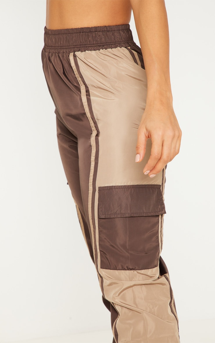 Chocolate Contrast Panel Pocket Shell Jogger 5