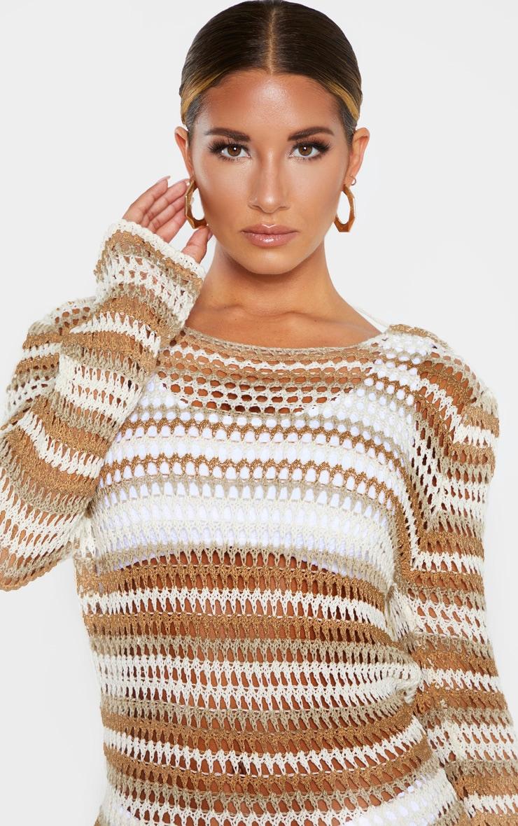 Stone Crochet Stripe Detail Knitted Dress  5
