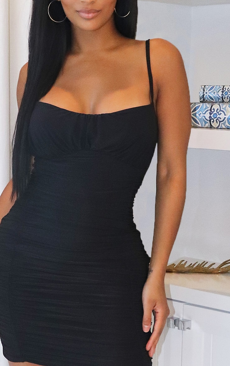 Shape Black Slinky Extreme Ruched Bodycon Dress 4