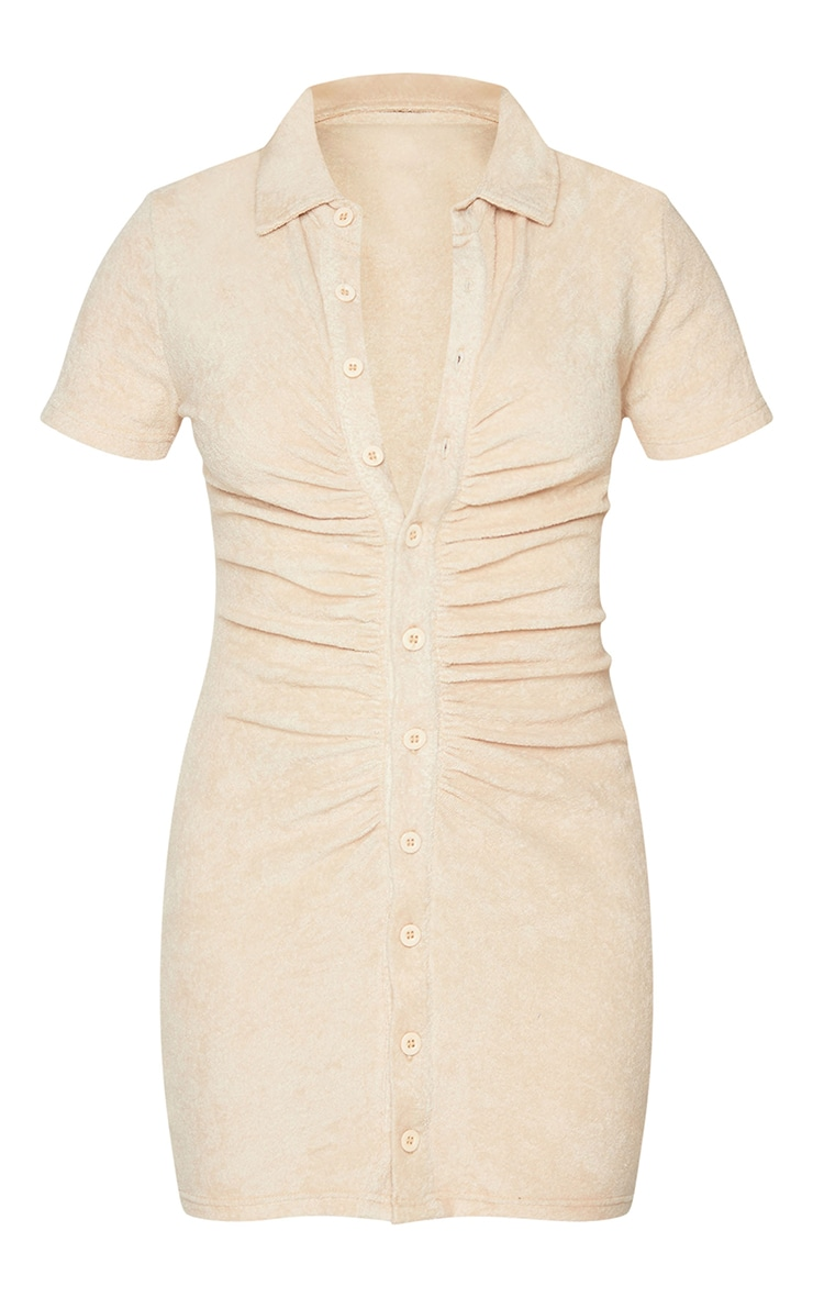 Stone Ruched Button Down Collar Detail Towelling Bodycon Dress 5