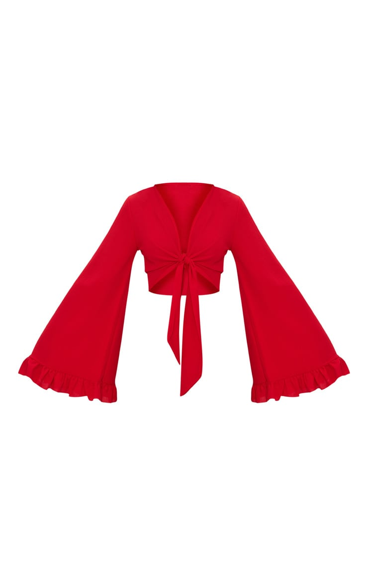 Red Tie Front Extreme Sleeve Crop Top  3