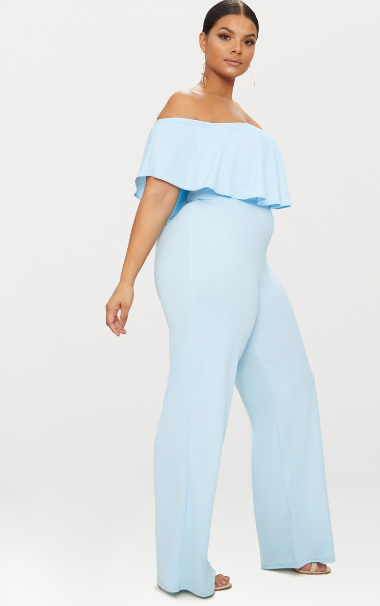 Plus Dusty Blue Bardot Frill Jumpsuit 4