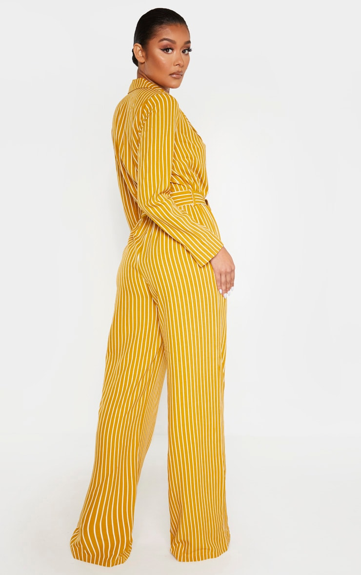 Mustard Pinstripe Belt Detail Wide Leg Jumpsuit 2