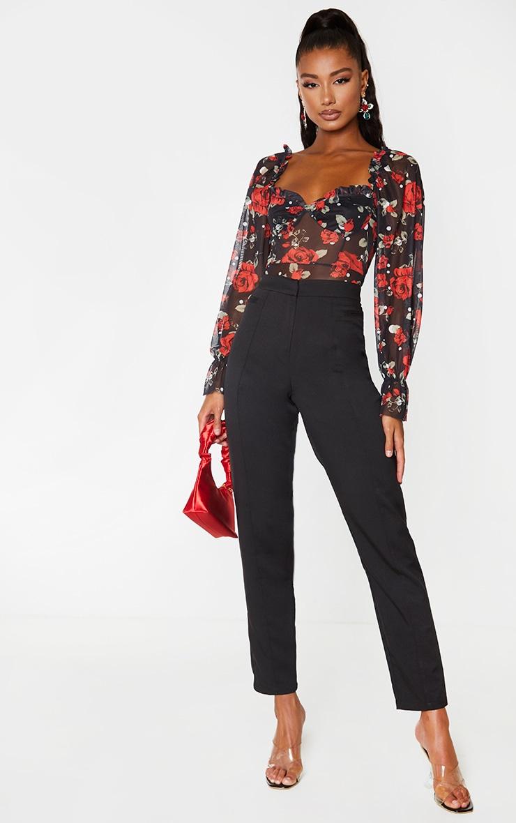 Red Floral Polka Dot Mesh Milkmaid Bodysuit 3