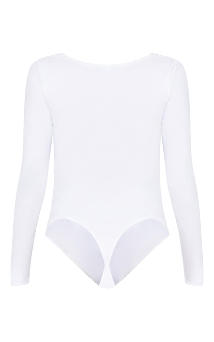 White Ruched Long Sleeve Bodysuit 4