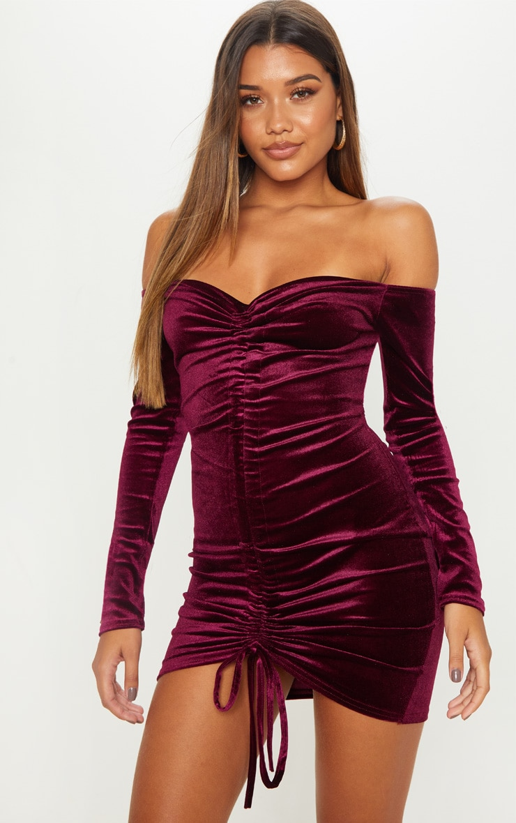 381f38aea00ca Plum Velvet Bardot Long Sleeve Ruched Bodycon Dress image 1