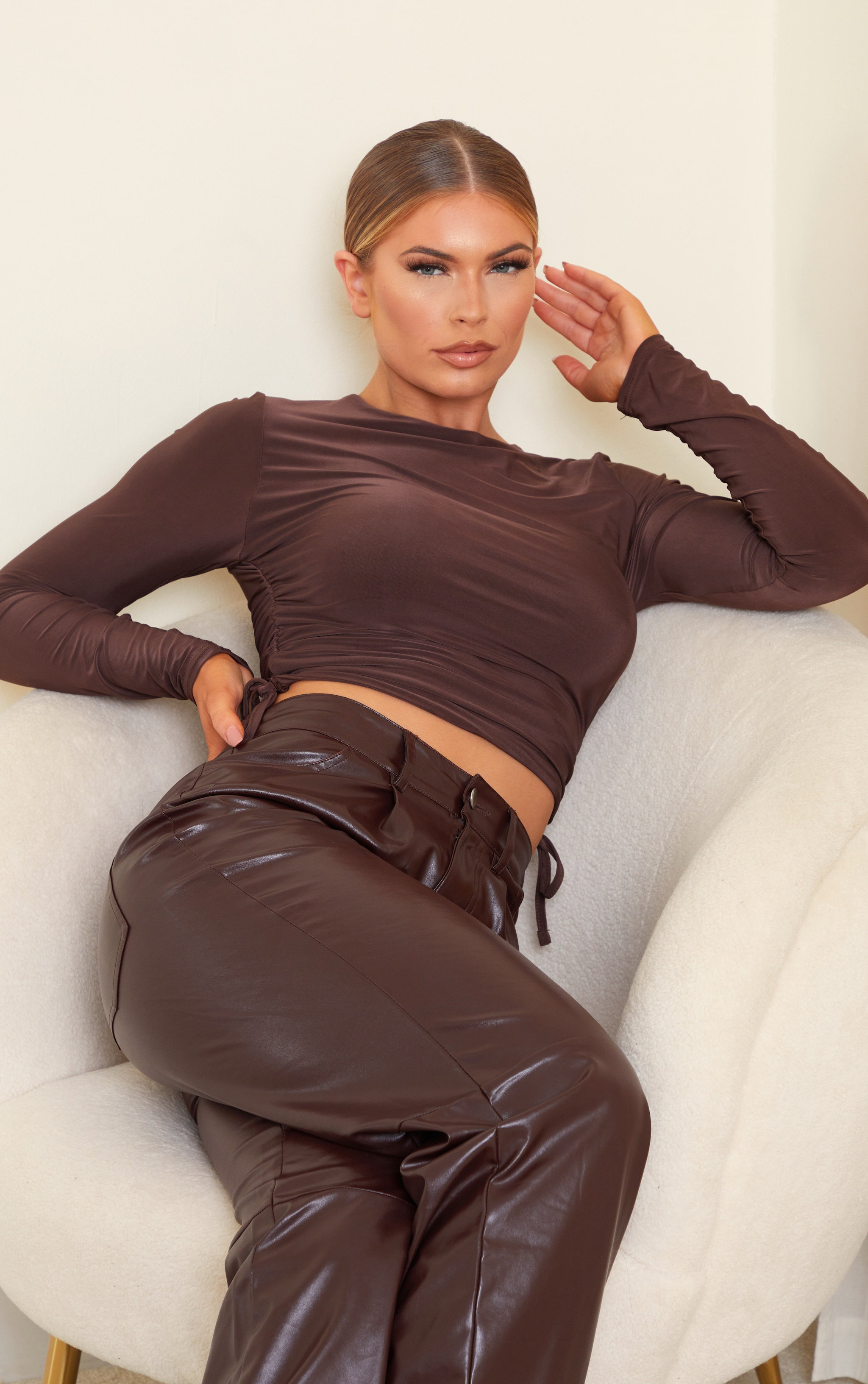Chocolate Slinky Ruched Side Long Sleeve Top 1