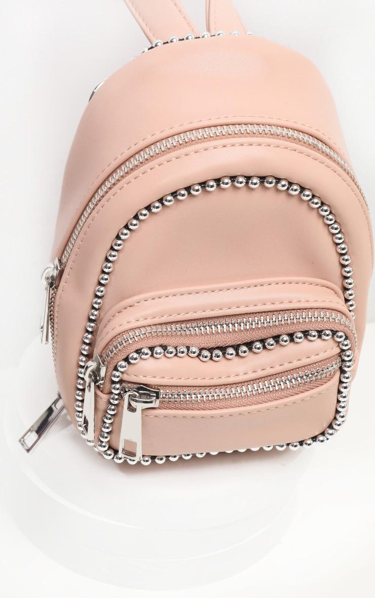 Mini sac à dos rose pâle à bordure chaîne ronde 2